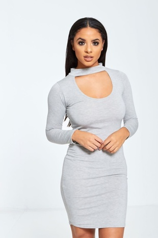 Grey Choker Neck Bodycon Dress