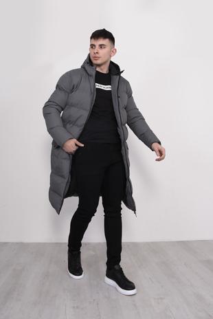 Mens Grey Longline Hooded Puffer Coat