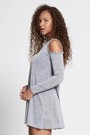 Grey Cold Shoulder Long Sleeve Mini Dress
