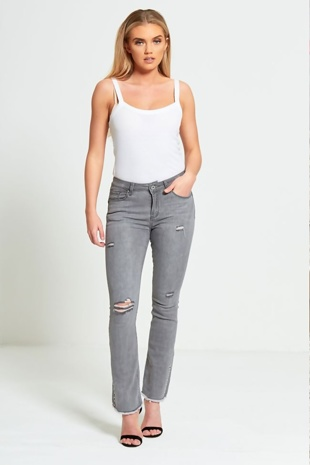 Grey Distressed Denim Flared Jeans