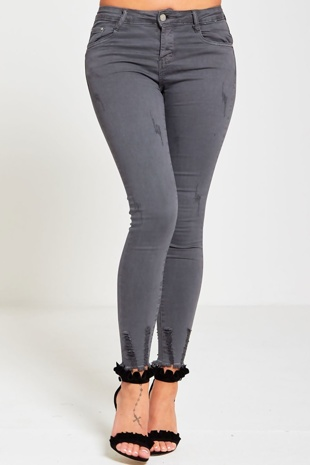 Grey Distressed Frayed Hem Skinny Jeans