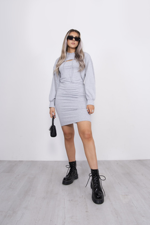 Grey Cami Dress And Arm Hoodie Set