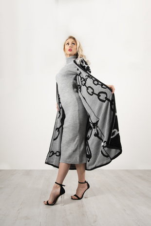 Grey And Black Maxi Cardigan And Knitted Dress Set