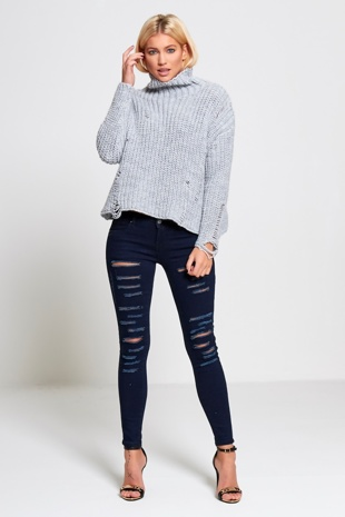 Grey High Neck Frayed Knitted Jumper