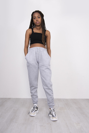 Grey Fleeced Lined Ruched Ankle Joggers