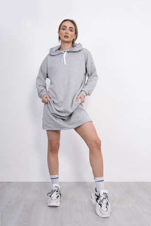 Light Grey Hooded Jumper Dress