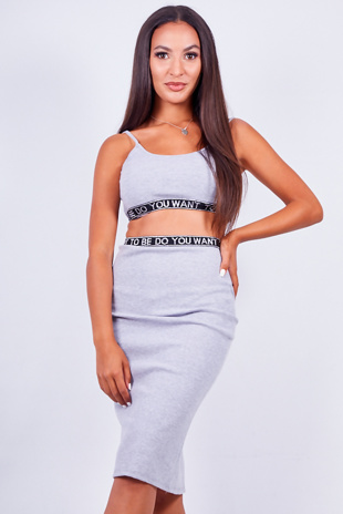 Grey Logo Tape Ribbed Strappy Crop Top And Skirt Set