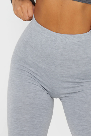 Grey Marl Basic High Waisted Cycle Shorts