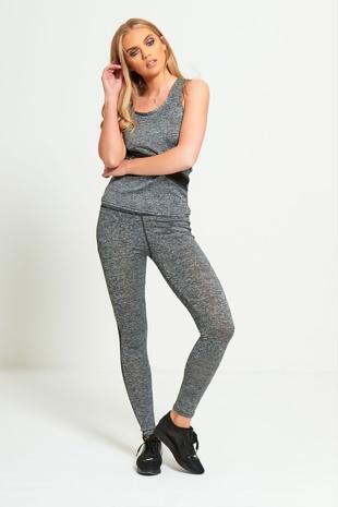 Grey Marl Mesh Panel Activewear Jogger Set
