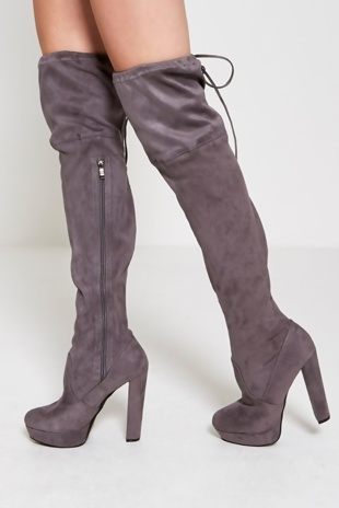 Grey Over The Knee Faux Suede Heeled Boots