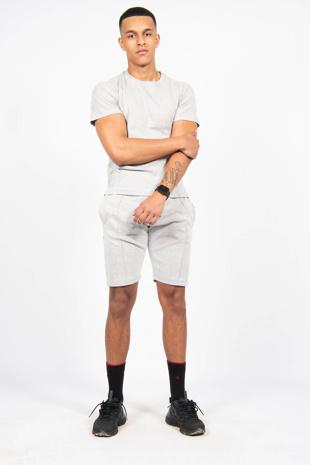 Mens Light Grey Pintuck  T-Shirt And Short Set