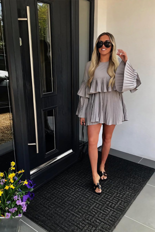 Grey Pleated Ruffle Mini Dress