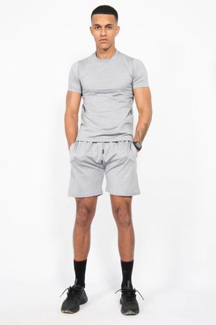 Mens Grey Muscle Fit Zip Pocket Shorts Set