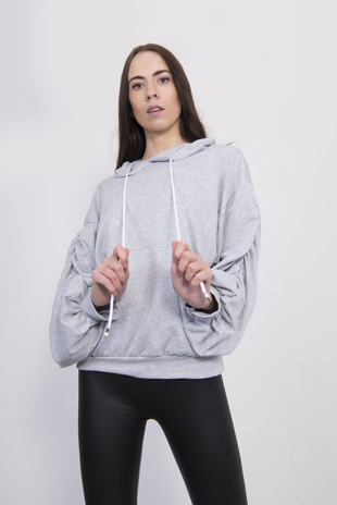 Light Grey Ruched Balloon Sleeve Hoodie