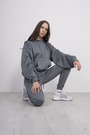 Dark Grey Ruched Hoodie And Jogger Set