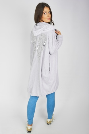 Grey Sequin Angel Wings Hooded Cardigan