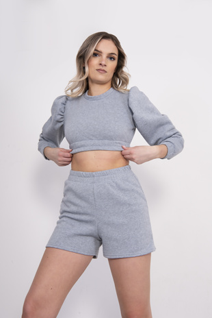 Grey Puff Sleeve Cropped Jumper And Short Set