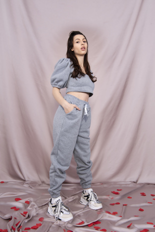 Grey Puff Sleeve Cropped Top And Jogger Set