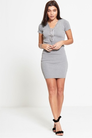 Grey Short Sleeve Lace Up Bodycon Dress
