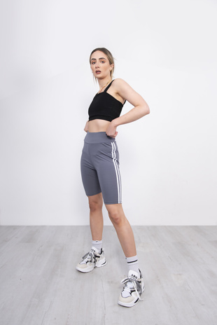 Grey Double Stripe Cycling Shorts