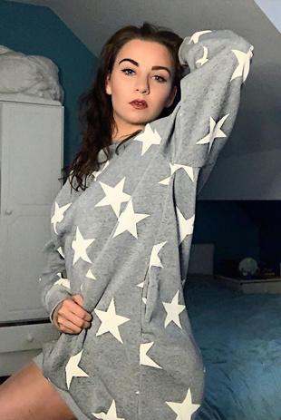 Grey Star Print Oversized Sweatshirt Dress