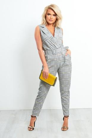 Grey Tartan Belted Tailored Jumpsuit