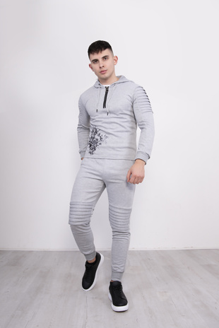 Mens Grey Embroidered Skinny Fit Tracksuit