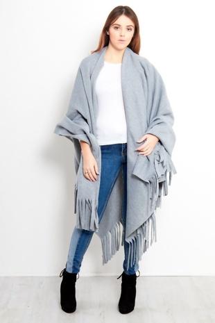 Grey Vintage Tassel Poncho