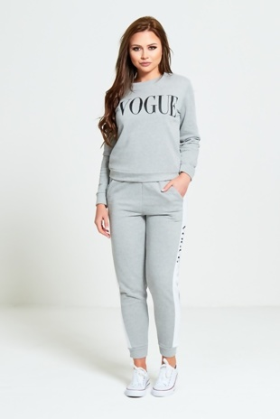 Grey Vogue Print Tracksuit Set