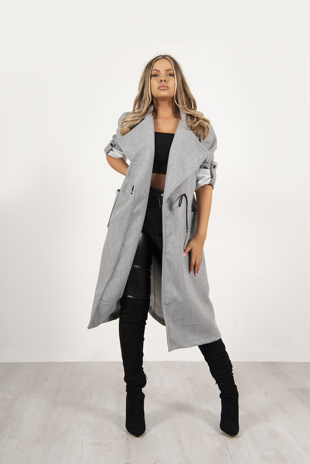 Grey Tie Waist Pocket Detail Wool Look Coat