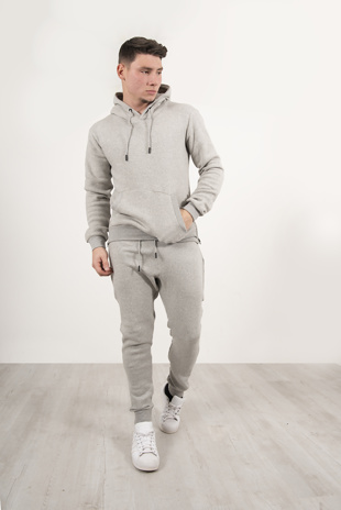 Mens Grey Side Zip Detail Hooded Tracksuit