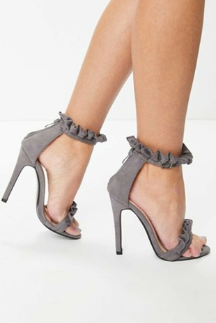 Grey Faux Suede Frill Barely There Heels