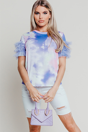 Hayley Hughes Modelled Lilac Tie Dye Tulle Frill Sleeve Tee