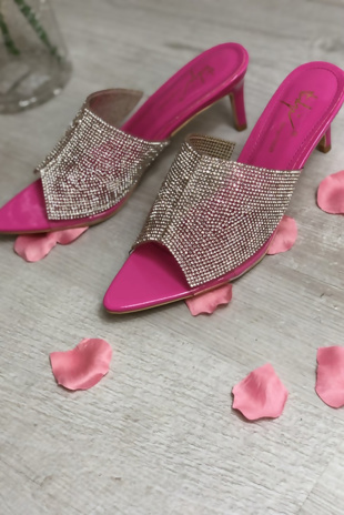 Hot Pink Diamante Pointed Toe Heels