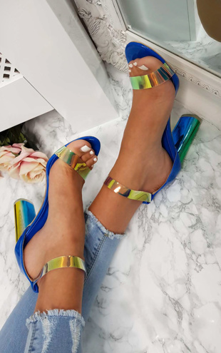 Blue Iridescent Freja Barely There Block Heels
