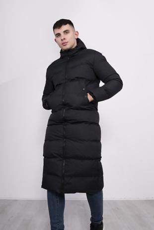 Black Padded Longline Parka with Hood Pre Order