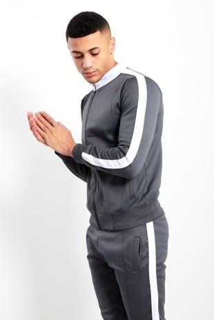 Mens Grey Zip Through Contrast Collar Tracksuit Pre Order