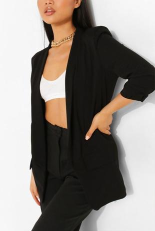 Black Ruched Sleeve Blazer