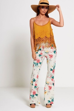 Ivory High Waist Floral Flared Trouser
