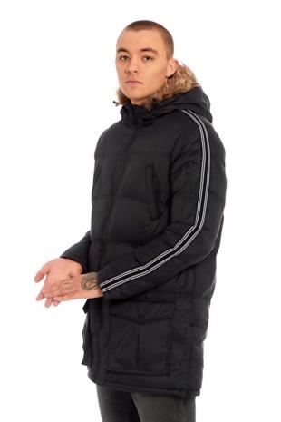 Mens Black Side Stripe Detail Longline Padded Jacket