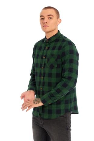 Mens Green Bright Checked Shirt