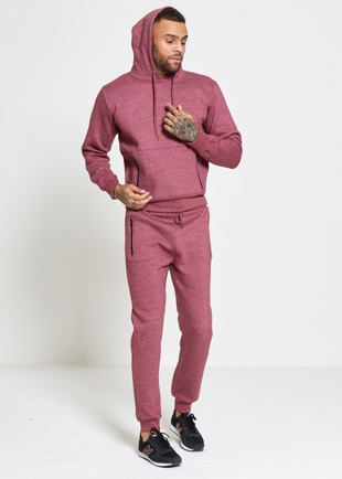 Mens Wine Skinny Fit Pullover Tracksuit