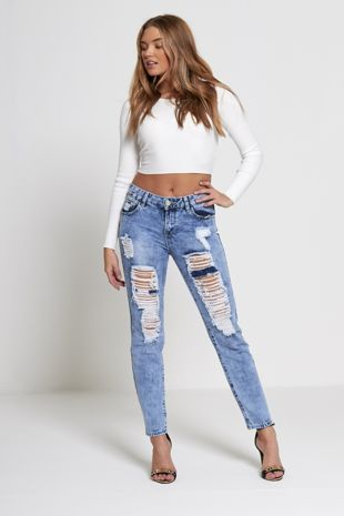 Extreme Ripped Denim Mom Jeans