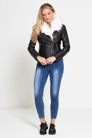 Blue Acid Wash High Waist Skinny Fit Jeans