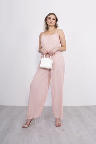 Pink Pleated Cami Frill Jumpsuit
