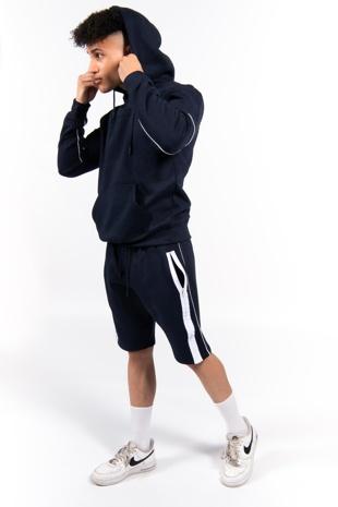 Navy Zip Detail Shorts Hoodie Set -Copy