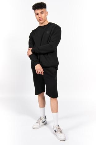 Black Sweatshirt and Shorts Set