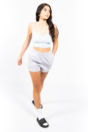 Baby Blue Notch Detail Ribbed Cami Top