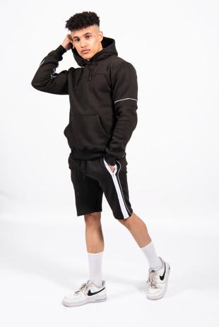Black Zip Detail Shorts Hoodie Set