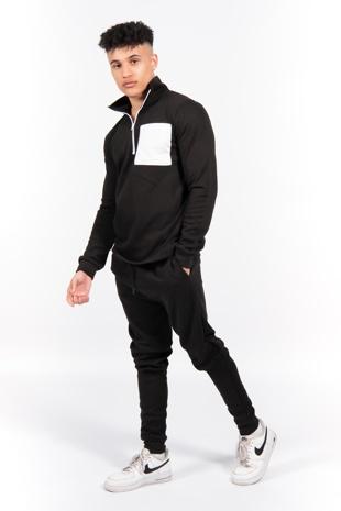 Black Half Zip Contrast Pockets Skinny Fit Tracksuit